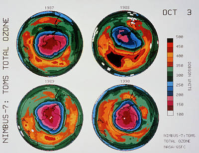 Antarctic Ozone Hole: Toms Comparison 1987-1990 Art Print by Nasa/science Photo Library