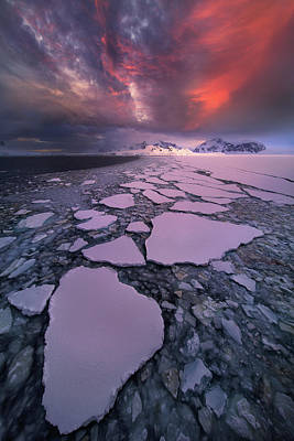 Winter Sunset Wall Art - Photograph - Antarctica Fire by Victor Liu