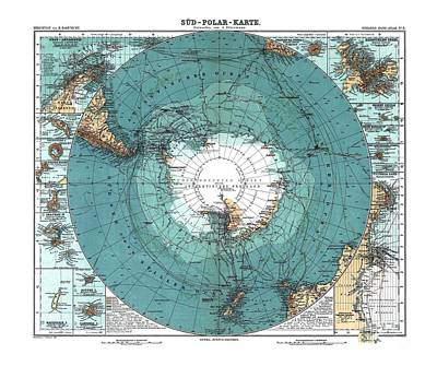 Antarctica Map Old 1912 Poster Art Drawing Art Print by Paul Fearn