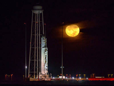Photograph - Antares Rocket At Launch Pad by Science Source