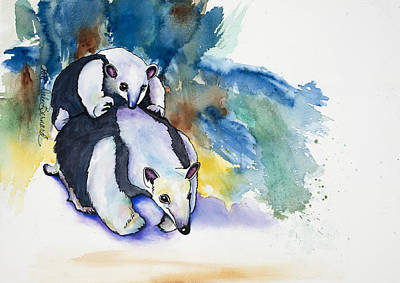 Painting - Anteater With Baby by Dale Bernard