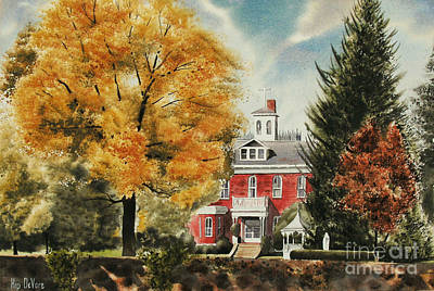 Autumn Scene Painting - Antebellum Autumn Ironton Missouri by Kip DeVore
