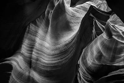 Monochrome Photograph - Antelope Canyon Waves Black And White by Adam Romanowicz