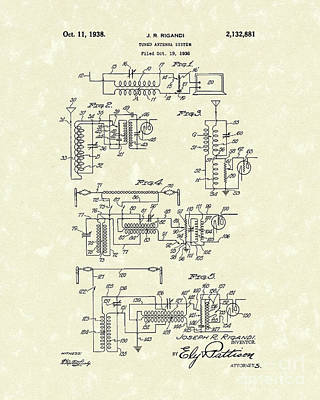 Antennae Drawing - Antenna System 1938 Patent Art by Prior Art Design