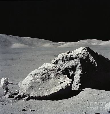 Moon Photograph - Astronaut Next To Giant Moon Boulder. by Celestial Images