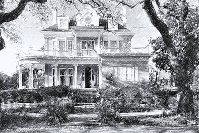 Anthemion At 4631 St Charles Ave. New Orleans Sketch Art Print by Kathleen K Parker