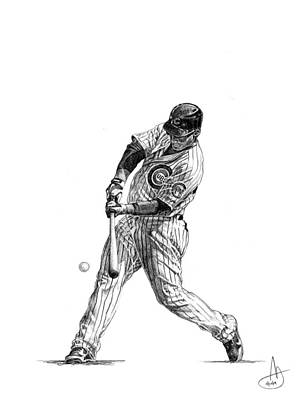 Chicago Baseball Drawing - Anthony Rizzo by Joshua Sooter