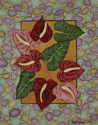 Painting - Anthurium Garden by DK Nagano