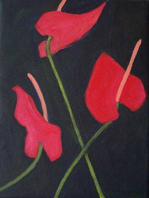 Anthuriums Art Print by Mary Adam