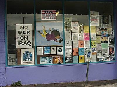 Anti-iraq War Posters 4th Avenue Book Store Window Tucson Arizona 2000 Art Print by David Lee Guss