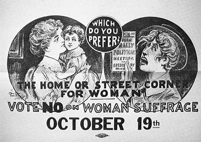 Caricature Drawing - Anti-suffrage Poster, 1915 by Granger