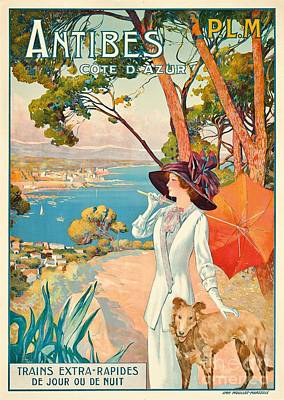 Cote D Painting - Antibes Vintage Travel Poster by David Dellepiane