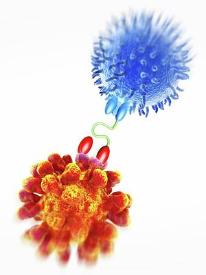Antibody Acting Against Tumuor Cell Art Print by Alfred Pasieka