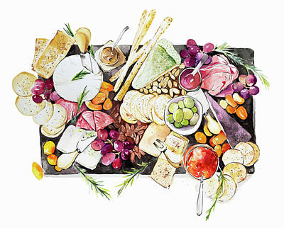 Painting - Antipasti Slate Sharing Platter by Ikon Images