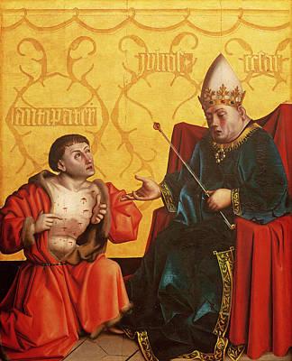 Prophecy Photograph - Antipater Kneeling Before Juilus Caesar, From The Mirror Of Salvation Altarpiece, C.1435 Tempera by Konrad Witz