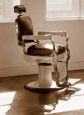 Antiquated Barber Chair In Sepia Art Print