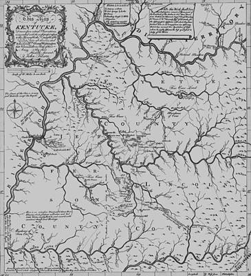 Vintage Map Digital Art - Antique 1784 Kentucky Map by Dan Sproul