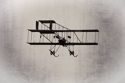Antique 1910 Henri 3 Biplane  Airplane Takes Flight Art Print