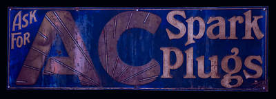 Digital Art - Antique Ac Spark Plug Sign by Chris Flees