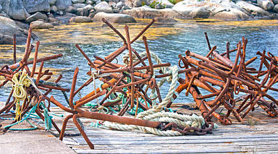 Marvelous Marble Rights Managed Images - Antique Anchors Royalty-Free Image by Betsy Knapp