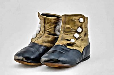 Digital Art - Antique Baby Boots by Patrick M Lynch
