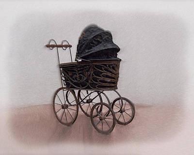 Old Stuff Digital Art - Antique Baby Carriage by Ernie Echols