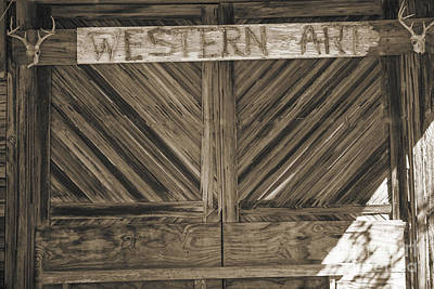 Photograph - Antique Barn Doors In Sepia Black And White 3003.01 by M K Miller