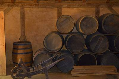 Wine Cart Photograph - Antique Barrels And Carte by Richard Jenkins