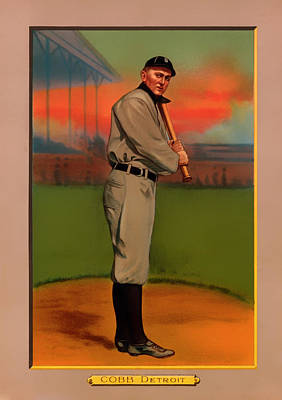 Detroit Tigers Photograph - Antique Baseball Card - Ty Cobb by Mountain Dreams