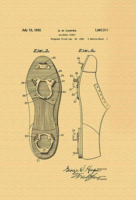 Antique Baseball Cleats Patent - 1932 Art Print