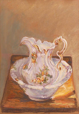 Painting - Antique Pitcher And Bowl by Chrissey Dittus