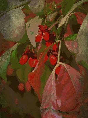 Burning Bush Digital Art - Antique Berry by Tg Devore