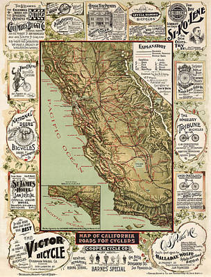 Map Of California Drawing - Antique Bicycle Map Of California By George W. Blum - 1895 by Blue Monocle