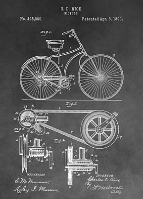 Transportation Drawings - Antique Bicycle Patent Black And White by Dan Sproul