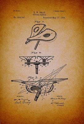 Authority Drawing - Antique Bicycle Saddle Patent 1898 by Mountain Dreams