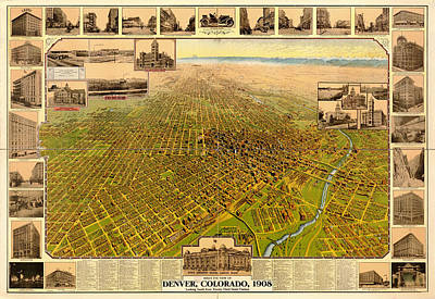 Plan View Drawing - Antique Bird's-eye View Map Of Denver 1908 by Mountain Dreams