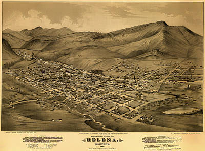 Plan View Drawing - Antique Bird's-eye View Map Of Helena Montana 1875 by Mountain Dreams