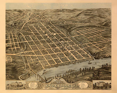 Tennessee Map Drawing - Antique Bird's-eye View Map Of Knoxville Tennessee 1871 by Mountain Dreams