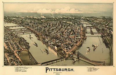 Plan View Drawing - Antique Bird's-eye View Map Of Pittsburgh 1902 by Mountain Dreams