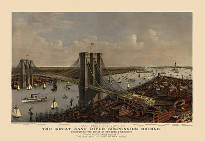 Antique Map Drawing - Antique Birds Eye View Of The Brooklyn Bridge And New York City By Currier And Ives - 1885 by Blue Monocle