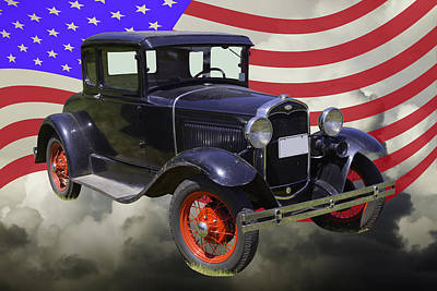 Photograph - Antique Black Ford Model A Roadster With American Flag by Keith Webber Jr