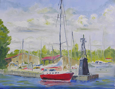 Impressionistic Sailboats Painting - Antique Boat Museum-clayton Ny by Robert P Hedden
