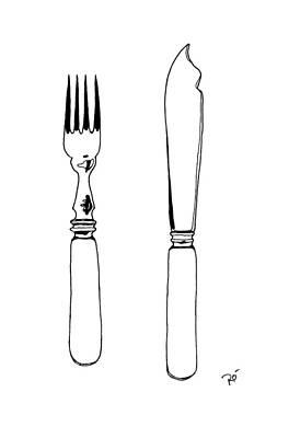 Tableware Drawing - Antique Bone Handled Cutlery by Roisin O Farrell