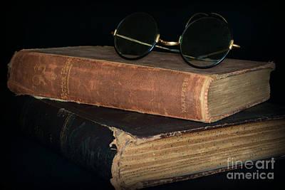 Antique Books  Antique Glasses Art Print