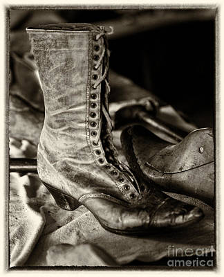 Shoe Repair Photograph - Antique Boot Sepia by Iris Richardson