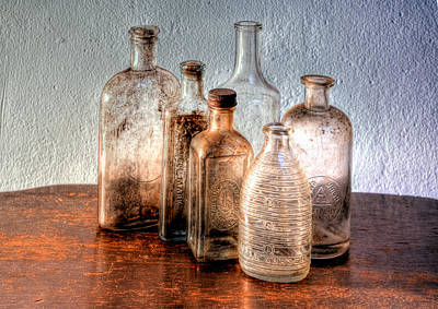 Photograph - Antique Bottles 2 - Hdr by Richard Ortolano