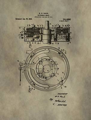 Antique Cars Mixed Media - Antique Brakes Patent by Dan Sproul