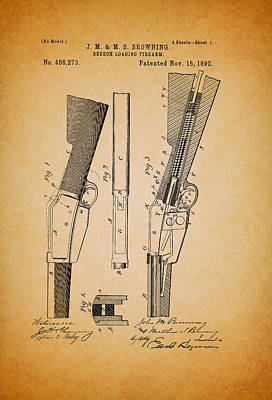 1890s Drawing - Antique Browning Breech Loading Rifle 1892 by Mountain Dreams