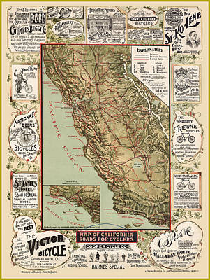 Antique Map Digital Art - Antique California Bicycle Trails by Gary Grayson