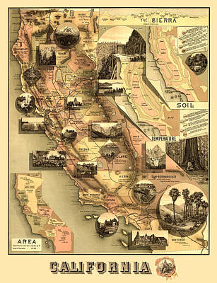 Antique Map Digital Art - Antique California Map by Gary Grayson